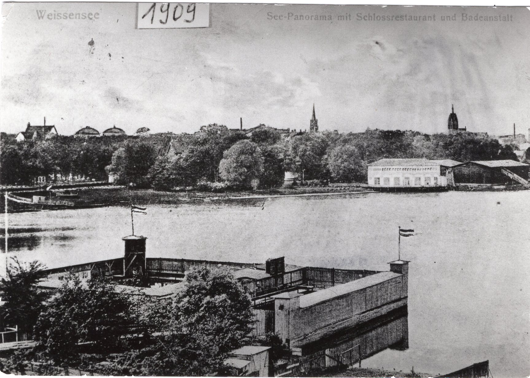 Schloss Weissensee und Badeanstalt Postkarte 1909